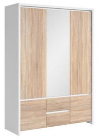 Skapis Black Red White Kaspian White&Sonoma Oak, 153.5x55.5x211 cm, with mirror