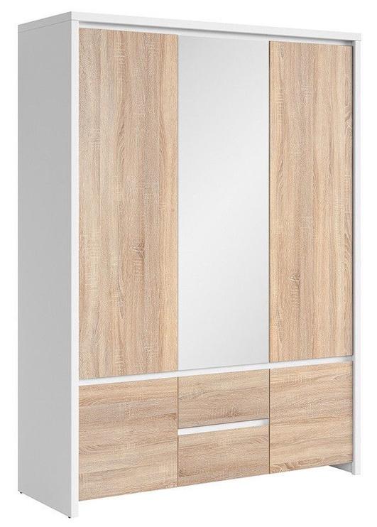 Skapis Black Red White Kaspian White&Sonoma Oak, 153.5x55.5x211 cm, with mirror