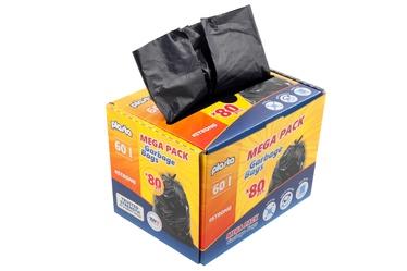 Šiukšlių maišai Plasta Mega Pack, 60 l, 80 vnt.