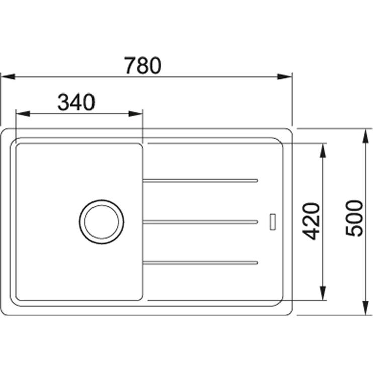 Раковина Franke Basis BFG 611 - 78, 780 мм x 500 мм x 200 мм