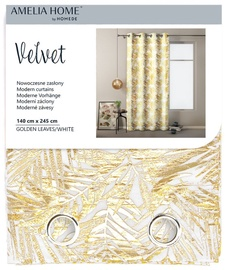 AmeliaHome Velvet Curtains Golden Leaves White 140x245