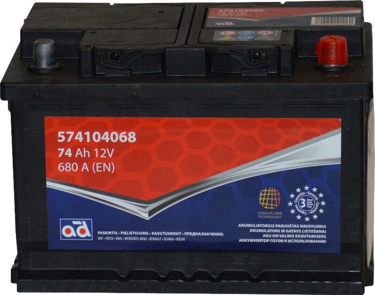 AD Baltic 574104068 Starter Battery 74Ah
