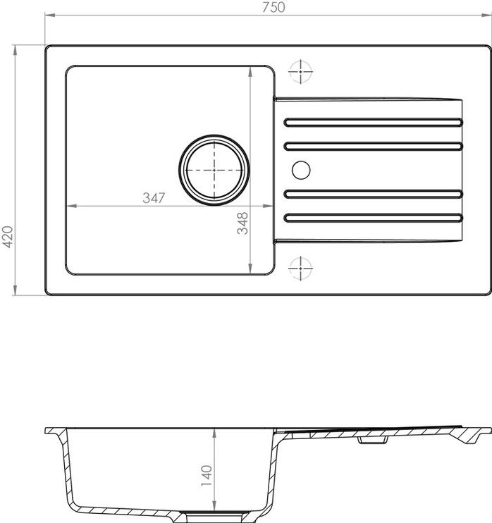 Раковина Alveus Foxtrot 130 91, 750 мм x 420 мм x 150 мм