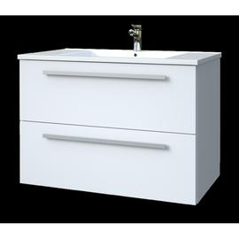 Apatinė spintelė su praustuvu  61 cm,  2 stalčiai, blizgiai balta