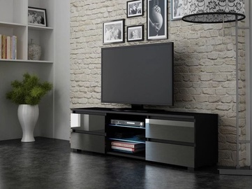 TV staliukas Pro Meble Milano 150 With Light Black/Grey, 1500x350x420 mm