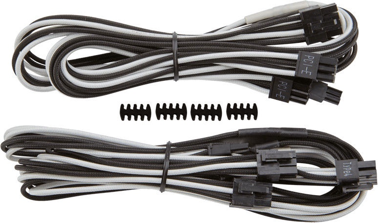 Corsair Premium Individually Sleeved PCIe Cables with Dual Connectors, Type 4 (Gen 3) White/Black