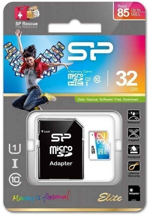 Silicon Power 32GB microSDHC Elite Colorful UHS-I Class 10 + SD Adapter