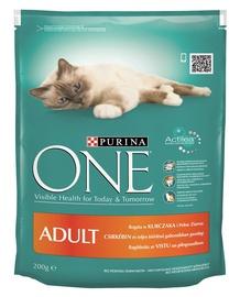 Sausas ėdalas katėms Purina One Adult, su vištiena ir ryžiais, 200 gr