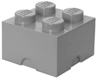 LEGO Storage Brick 4 Knobs Medium Stone Grey