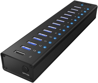 ICY BOX IB-AC6113 13x Port USB 3.0 Hub with USB Charge Port Black