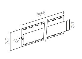 Plastikinių dailylenčių jungiamoji juosta Vox SV-18, kreminė, 305 x 7.6 cm