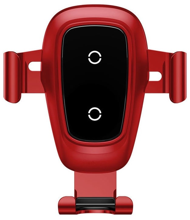 Baseus Metal Gravity Car Holder With Wireless Charger Red