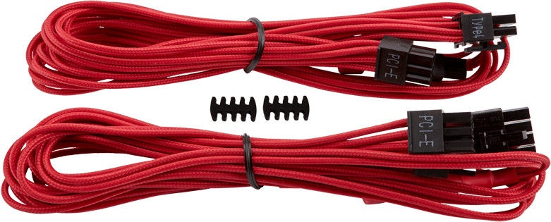 Corsair Premium Individually Sleeved PCIe Cables with Single Connector Type 4 (Gen 3) Red