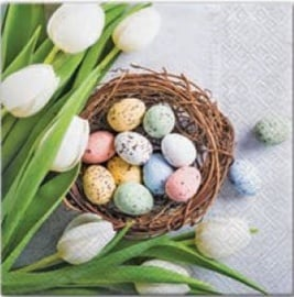 Paw Decor Collection Eggs And Tulips Napkins 33x33cm