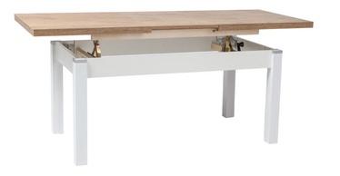 Pusdienu galds Signal Meble Kleopatra Lancelot Oak/White, 1240 - 1640x640x560 - 750 mm