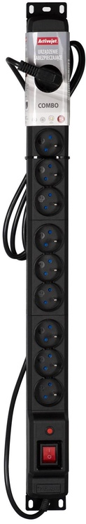 ActiveJet Surge Protector 12 Outlet Black 3m