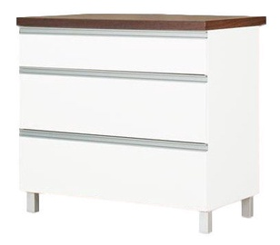 Apakšējais virtuves skapītis Bodzio Sandi Kitchen Drawer 90x86x52cm Polished White
