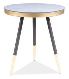 Kafijas galdiņš Signal Meble Vega C White Marble/Black, 450x450x500 mm