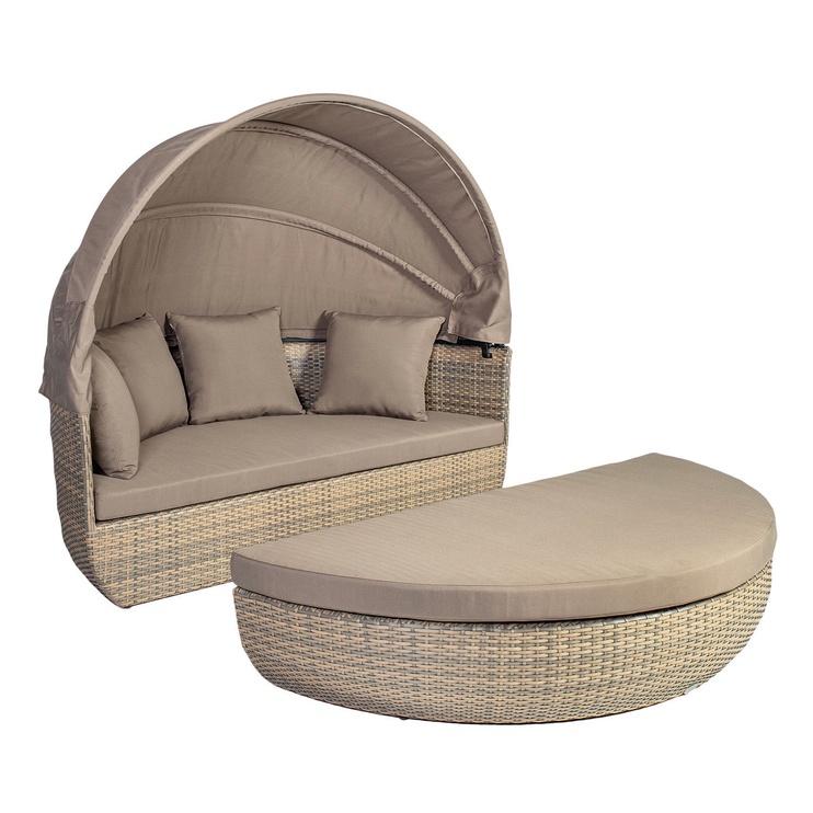 Home4you Larache Sofa w/ Canopy And Cushions Grey