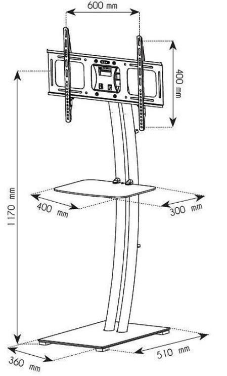 Televizoriaus laikiklis Techly Floor Stand TV/LCD 32 - 70'' Black