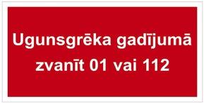 ZĪME ZVANĪT 01 VAI 112 5X10 (UZRAKSTS)