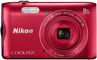 Nikon Coolpix A300 Red + Memory Card 16GB + Bag