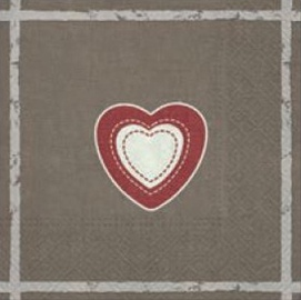 Paw Decor Collection Heart On Canavas Napkins 33x33cm