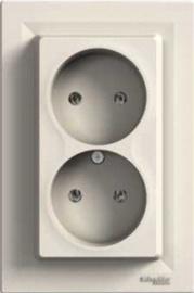 Kištukinis lizdas dvivietis Schneider Electric Asfora EPH9700123, smėlio spalvos