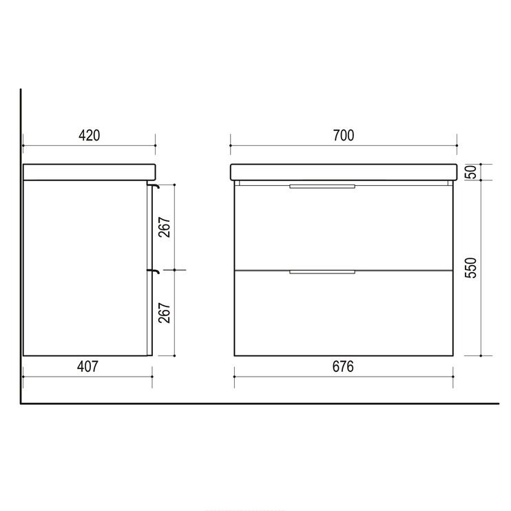 Шкафчик Riva Balance SA70-6 Bathroom Cabinet Grey