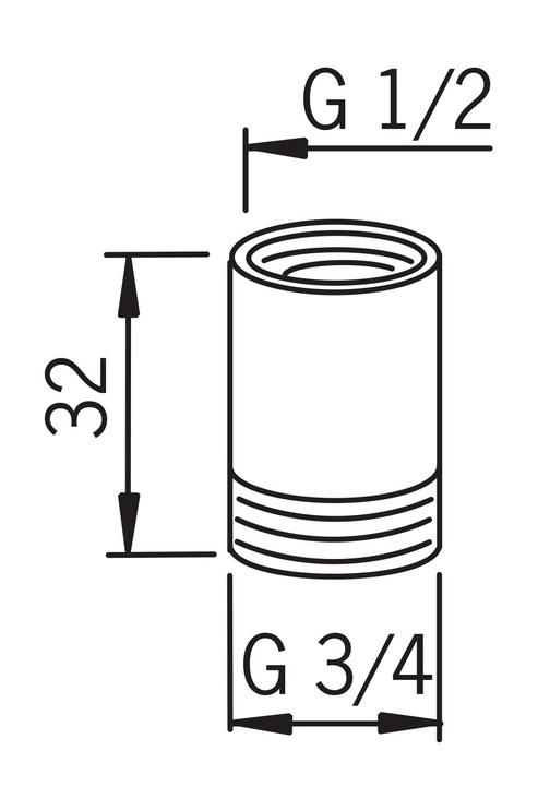 Pāreja nipelis Oras 158691 1/2x3/4MF