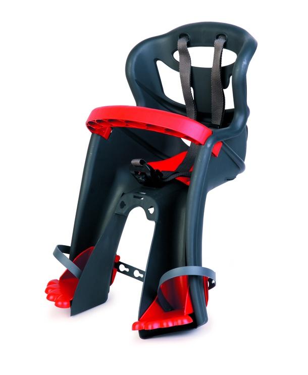 Детское кресло для велосипеда Bellelli Tatoo Plus 01TATHM002, черный/красный/серый, передняя