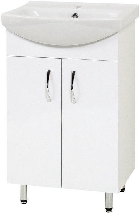 Vannas istabas skapītis Sanservis Cersania-50 with Basin White, 51x83.5x38.5 cm