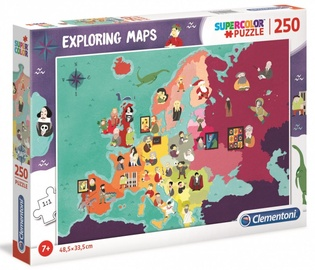 Puzle Clementoni Super Color Puzzle Exploring Maps Great People In Europe 725401, 250 gab.