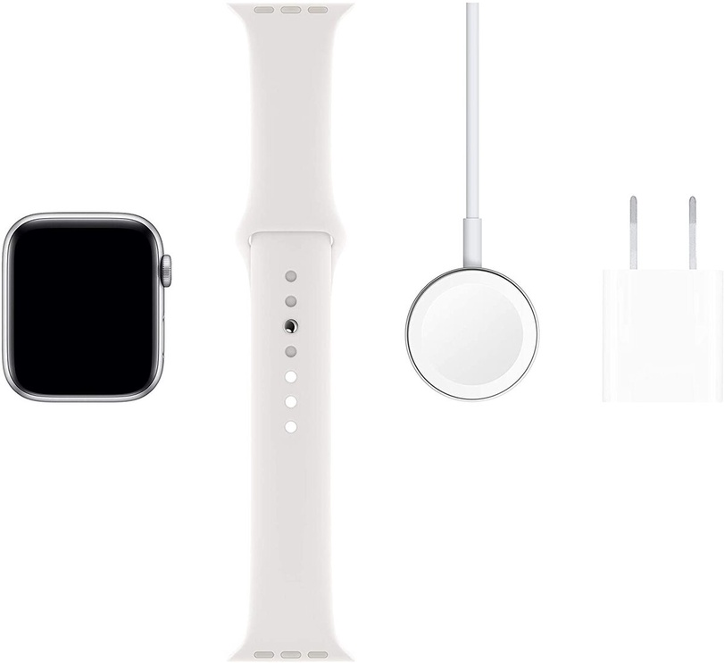 Išmanusis laikrodis Apple Watch Series 5 44mm GPS Silver Aluminium Case with White Sport Band S/M and M/L
