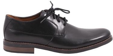 Clarks 261231487 Becken Plain Leather Shoes Black 45