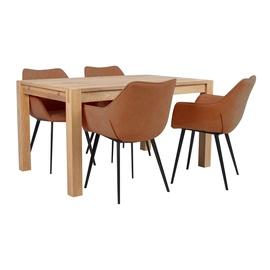 Pusdienu galds Home4you Chicago New K840297, brūna/ozola, 1400x900x760mm