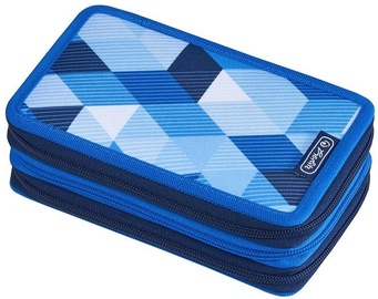 Herlitz 3 Piece Pencil Case Blue Cubes