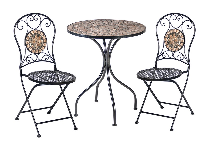 Home4you Mosaic Table And 2 Chairs Grey/Black