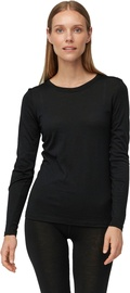 Audimas Fine Merino Wool Long Sleeve Top Black XS