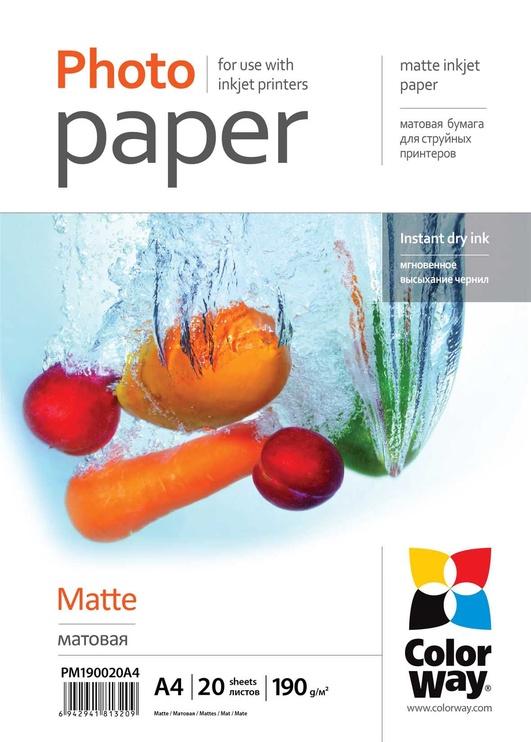Fotopaber ColorWay Photo Paper A4 190 Matte 20 Pages