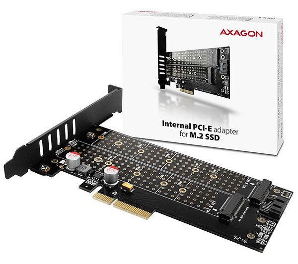 Axagon PCEM2-D PCIe NVMe plus SATA M.2 Adapter