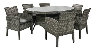 Home4you Geneva Table And 6 Chairs Set Grey