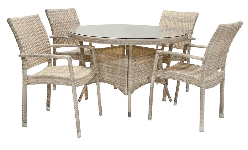 Home4you Wicker Garden Table And 4 Chair Set Beige