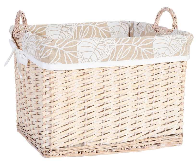 Home4you Willi Leaf Basket With Handles L 44x33xH30cm Light Brown