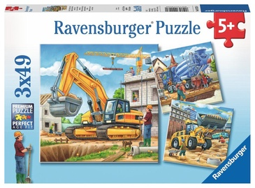 Dėlionė Ravensburger Large Construction Vehicles 09226, 3x49 dalių