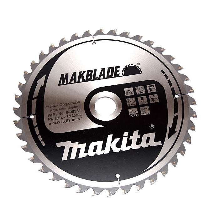 ZĀĢRIPA MAKITA B-08981 260MM 40T