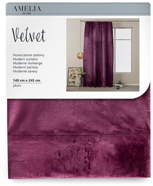 AmeliaHome Velvet Pleat Curtains Plum 140x245cm