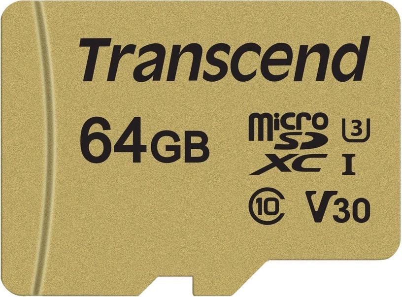 Transcend 500S 64GB microSDXC UHS-I U3 w/Adapter TS64GUSD500S