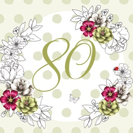 Clear Creations 80 Age Card CL1480