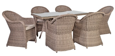 Home4you Toscana Garden Table And 6 Chairs Beige/Grey
